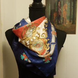 VTG 1980s Turquoise Gold County Western Scarf